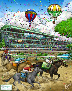 Artwork of the 2007 Belmont Stakes by Charles Fazzino