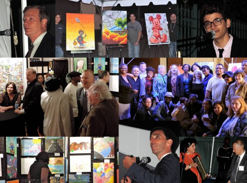 A collage of photos from an art auction helping raise funds for mental health initiatives
