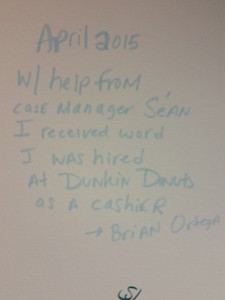 A board with the story Brian, helped by CHOICE to get a job