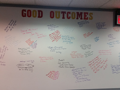 The Good Outcomes Wall at the CHOICE White Plains office filled with positive experiences
