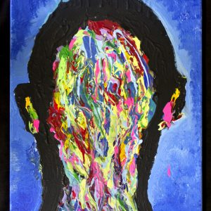 A painting of a head in black filled in with strokes of various colors.