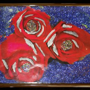 A painting of red roses on a blue background