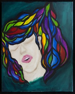 Painting of a face with layers of colors in hair like stained glass