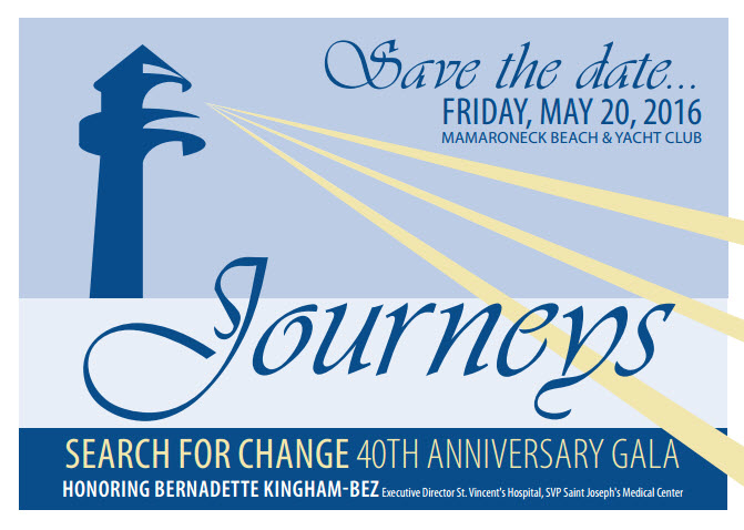 Save the date card for the Search for Change 2016 Gala event