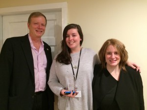 Sarah Shenefield receiving the January 2016 Employee of the Month award
