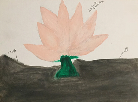 A pink lotus flower with a dark green stem coming out of the mud
