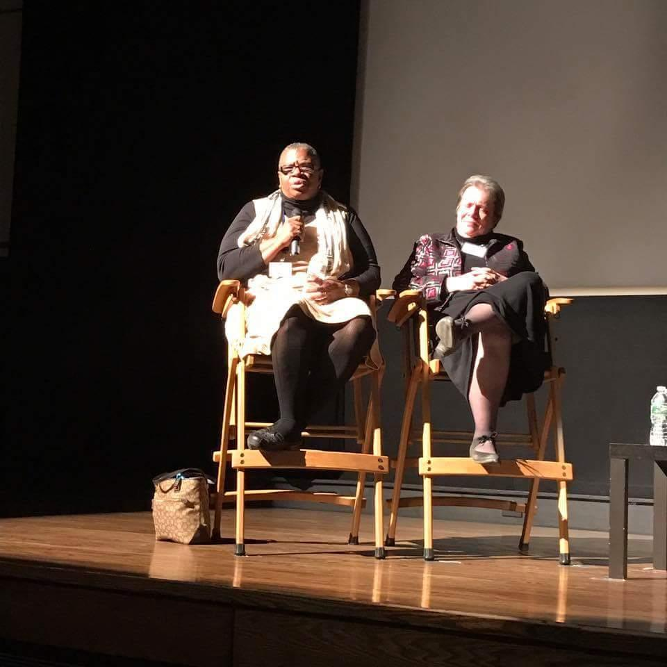 Kimrita Hill on a panel discussion discussing mental wellness after a screening of the film, People Say I'm Crazy