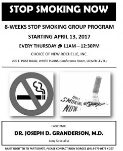 Flyer for the 8 week smoking cessation program to help people quit cigarettes at CHOICE