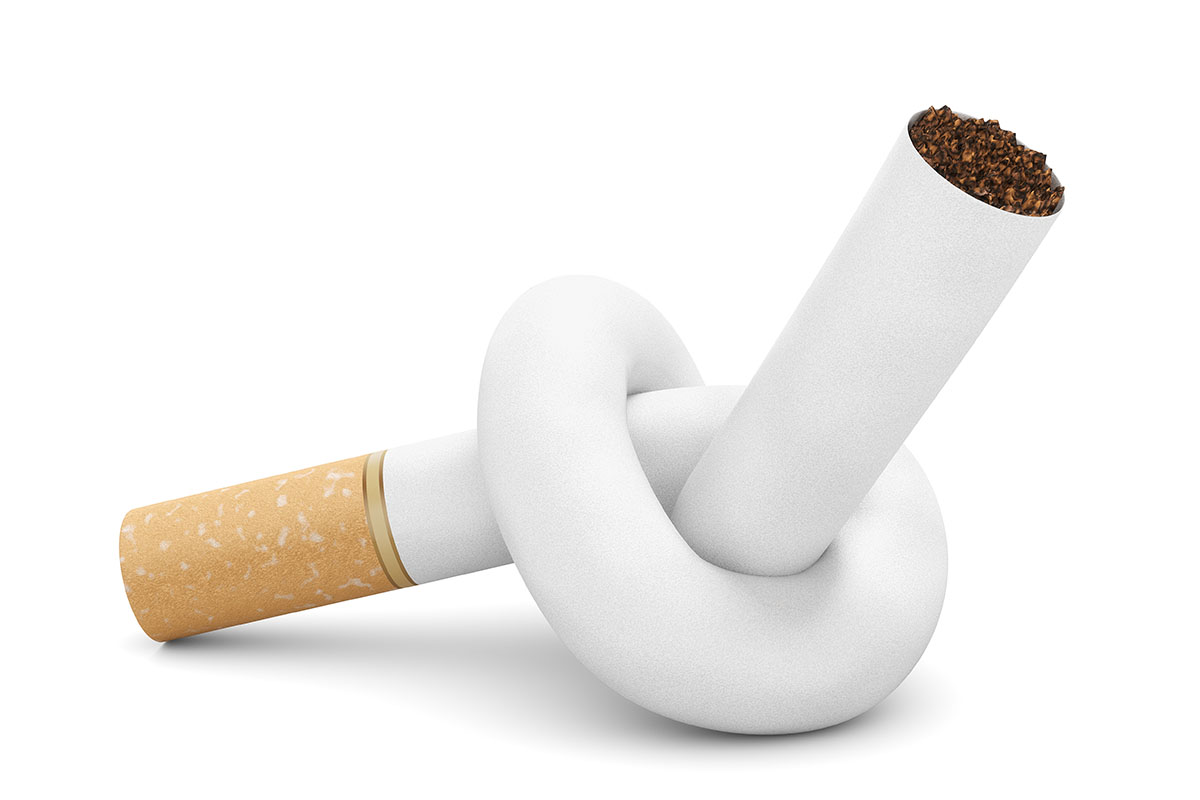 A cigarette tied in a knot means freedom from smoking