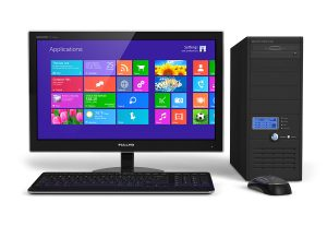 A desktop computer showing the Windows 8.1 homescreen