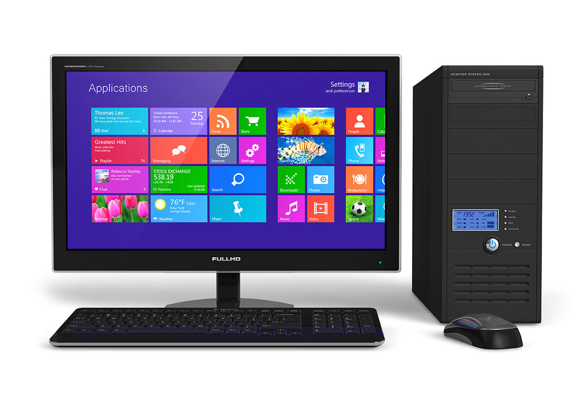 A desktop computer showing the Windows 8.1 homescreen