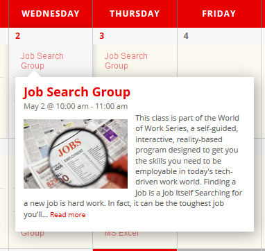 A screenshot of a calendar event for job search group