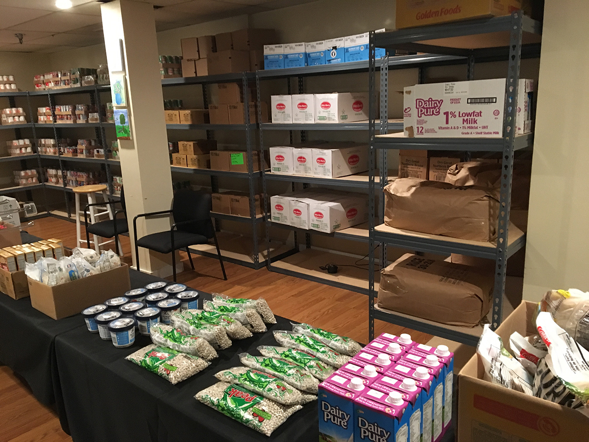 Dry and canned goods stocked at a food pantry to help fight food insecurity